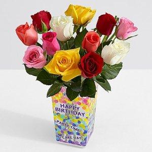 画像1: One Dozen Long Stemmed Rainbow Roses