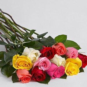 画像2: One Dozen Long Stemmed Rainbow Roses