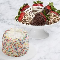 Petite Birthday Cake & Half Dozen Fancy Strawberries