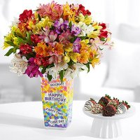 100 Blooms of Peruvian Lilies with 6 Fancy Strawberries