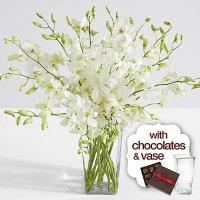 White Dendrobium Orchids with Square Vase & Chocolates