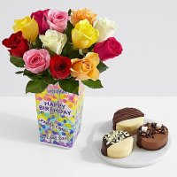 12 Rainbow Roses with Dipped Cheesecake Trio