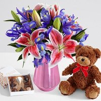Joyful Bouquet with Pink Metallic Vase, Bear & Chocolates