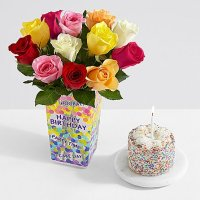 12 Rainbow Roses with Petite Birthday Cake