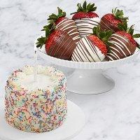Petite Birthday Cake & Half Dozen Swizzled Strawberries