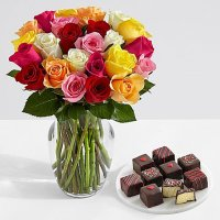 Two Dozen Valentine's Roses with 9 Valentine's Cheesecake Bites