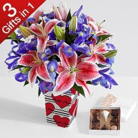Deluxe Valentine's Day Spectacular with Love Stripes Vase & Chocolates