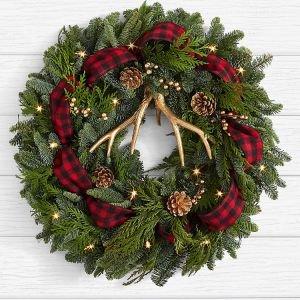 画像1: 22 inch Holiday Glam Wreath with Lights