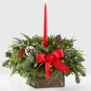 画像1: 14inch Deck the Halls Centerpiece with Holiday Trug and Lights